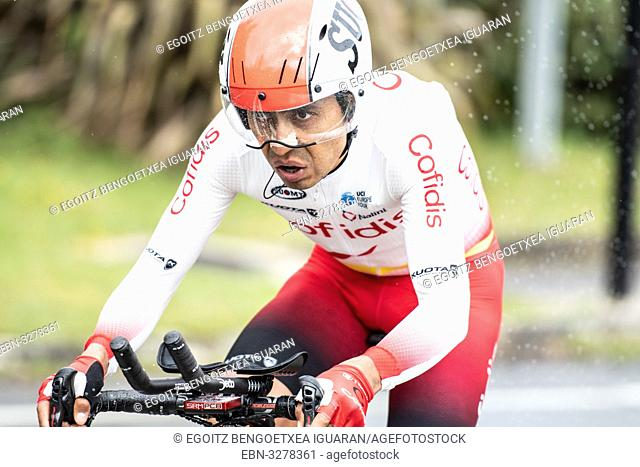 Jhon Darwin Atapuma Hurtado at Zumarraga, at the first stage of Itzulia, Basque Country Tour. Cycling Time Trial race