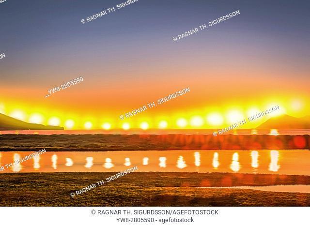 Sun - Multiple Exposure, Midnight sunset, Eyjafjordur, Iceland