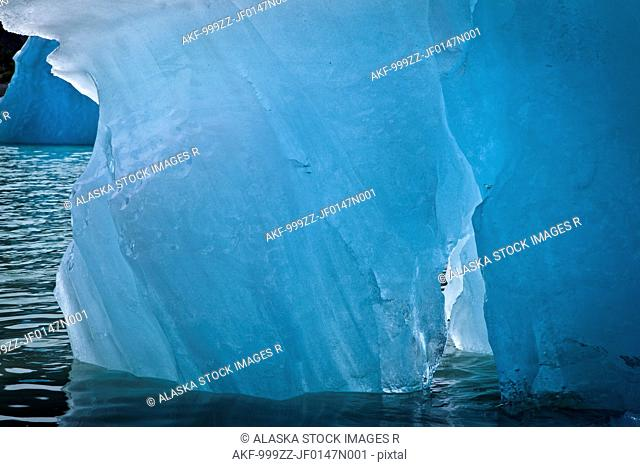 Close up of an iceberg from McBride Glacier in Muir Inlet, Glacier Bay National Park & Preserve, Southeast Alaska, Summer