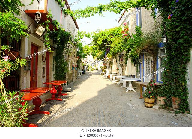 Turkey, Cesme, Alacati, traditional alley in village