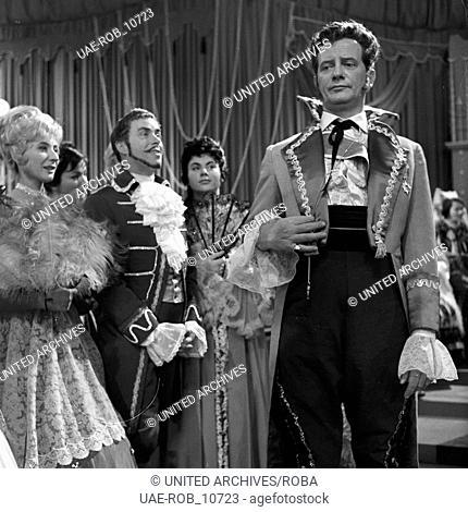 """Fernsehinszenierung der Operette """"""""Die Banditen"""""""" von Jacques Offenbach, Deutschland 1961, Szenenfoto"""