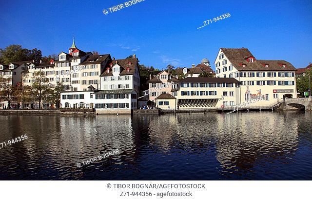 Switzerland, Zurich, skyline, general view, Limmat river