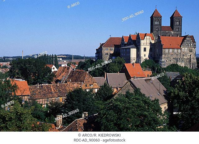 View on cathedral St Servatius Quedlinburg Saxony-Anhalt Germany