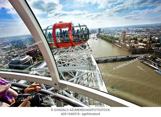 London Eye, Millennium Wheel  View of Thames river and Westminster area  London  England  United Kingdom  UK  Europe