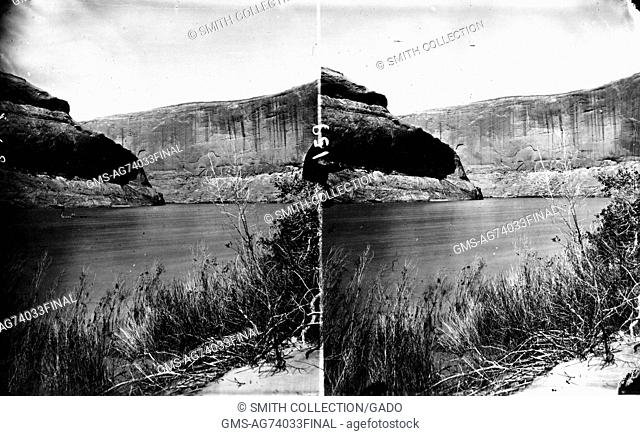 Stereograph of water running high in Glen Canyon on the Colorado River, 1872. Image courtesy USGS