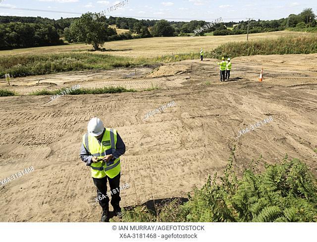 Site of neolithic finds discovered during Scottish Power work, Martlesham, Suffolk, England, UK summer 2018