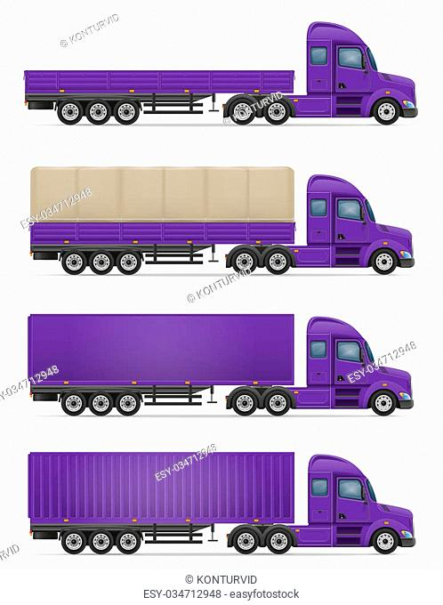 truck semi trailer for transportation of goods illustration isolated on white background