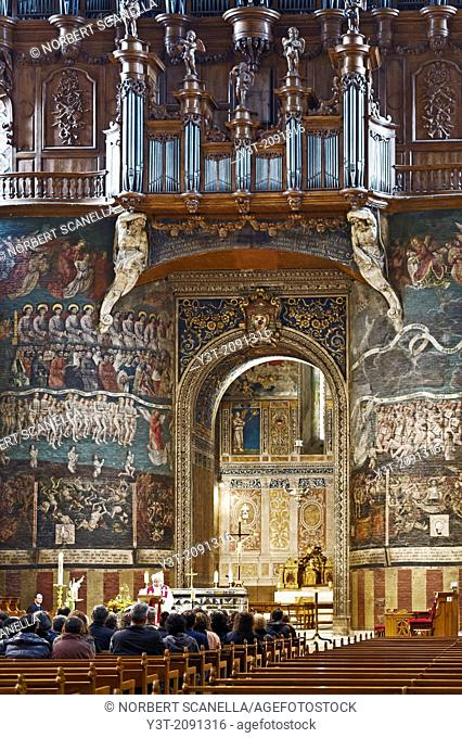 Europe, France, Tarn, Albi. Episcopal city, classified as UNESCO World Heritage. Cathedral Sainte-Cecile. The nave and the fresco of the Last Judgment