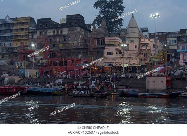 Morning puja or worship in the Ganges River, Varanasi, formerly Benares, Uttar Pradesh, India