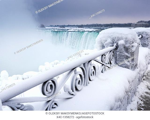 Niagara Falls Horseshoe waterfall wintertime scenic  Ontario, Canada