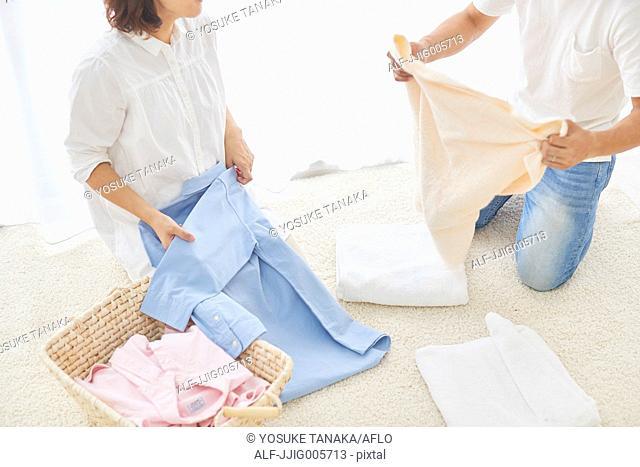 Japanese couple doing housework