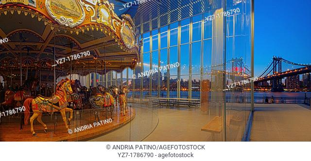 Restored Jane's Carousel inside New Pavilion, designed by Pritzker-prize winning architect Jean Nouvel