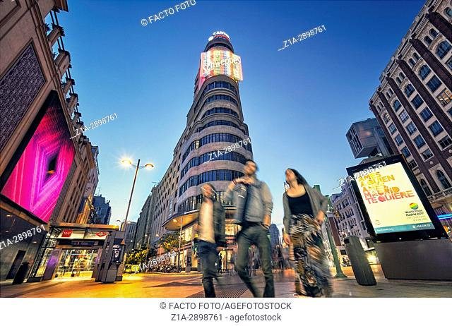 Callao square and Gran Via street at twilight. Madrid, Spain