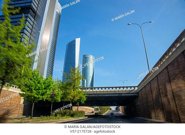 Four Towers viewed from Paseo de la Castellana. Madrid, Spain