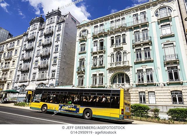 Portugal, Lisbon, Rua Braamcamp, Hotel Expo Astoria, building, exterior, bus, public transportation, stop, city skyline, residential apartment buildings
