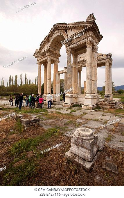 Antique Tetrapylon in the ancient ruins of Aphrodisias, Aydin Province, Aegean Coast, Turkey, Europe