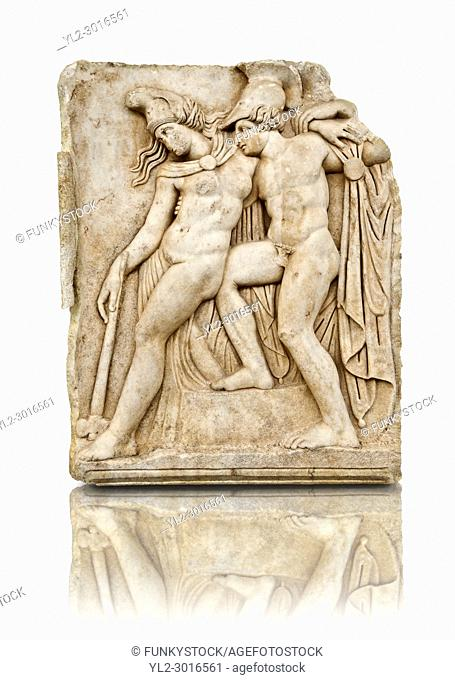Roman temple freize relief sculpture of Achilles and a dying Amazon, Aphrodisias Museum, Aphrodisias, Turkey. Achilles supports the dying Amazon queen...