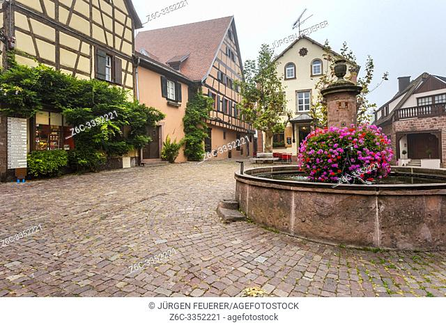 one of many flower-bedecked wells in the village Riquewihr, Alsace Wine Route, France, square of the village