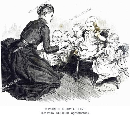An engraving depicting children rescued from a 'baby farm' being cared for in the National Society for the Prevention of Cruelty to Children's refuge