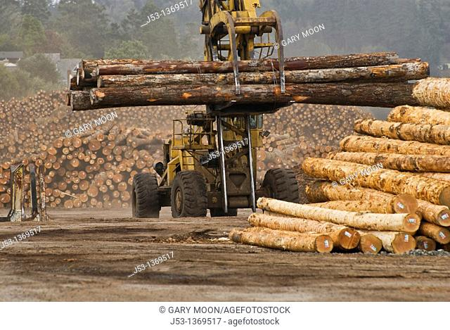Logging machine moving logs at lumber mill, Coos Bay Oregon