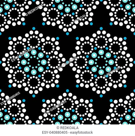 Repetitive background, mandala with abstract circles inspired by Australian folk art, geometric composition in white and blue on black background