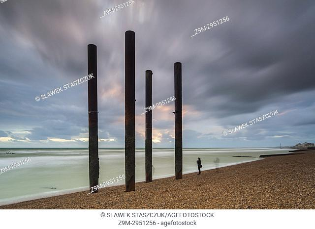 Sunset at West Pier ruins in Brighton, East Sussex, England
