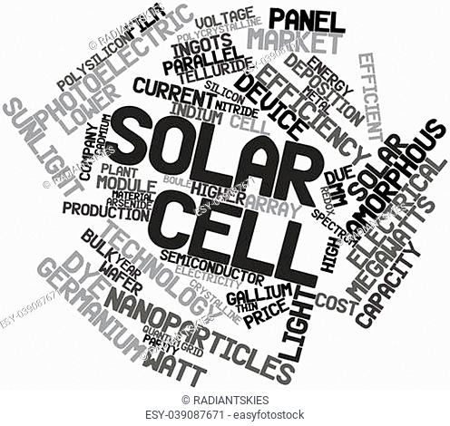 Abstract word cloud for Solar cell with related tags and terms