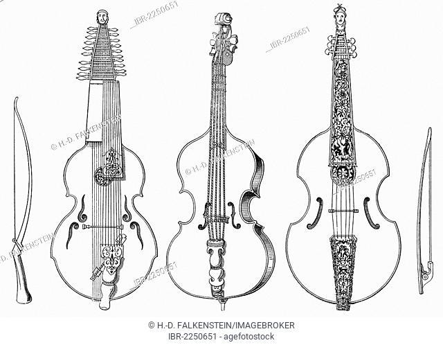 Historical drawing, various stringed instruments, old forms of the violin, case-violin, viola da gamba, brass fiddle, viola bastarda, baryton, 16th Century