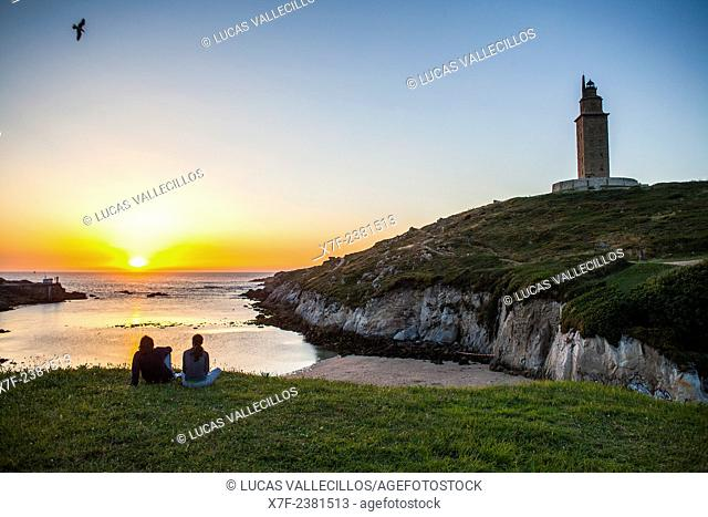 Tower of Hercules, Roman lighthouse, and Lapas beach, Coruña city, Galicia, Spain