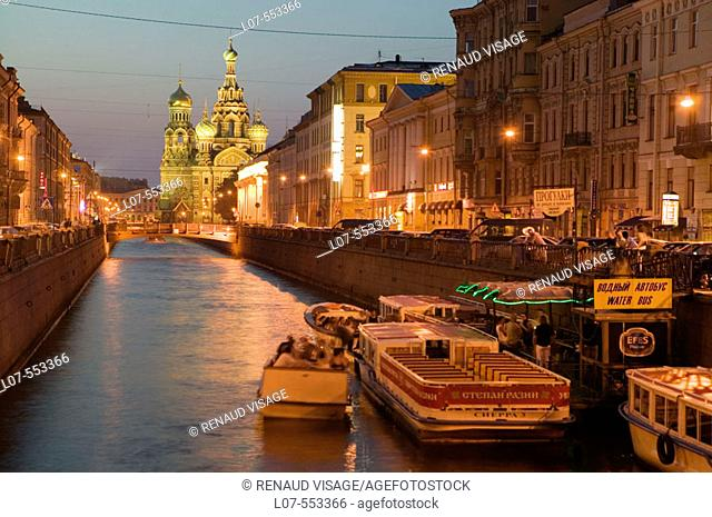 Griboedova Canal and Church of the Savior on Spilled Blood at night. St Petersburg. Russia