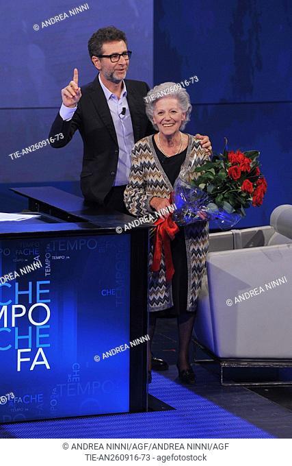 The tv host Fabio Fazio with the aerospace engineer Amalia Ercoli Finzi guest at tv show Che tempo che fa, Milan, ITALY-25-09-2016
