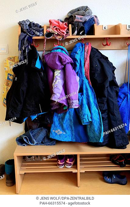 Children's jackets in the child daycare center 'Kunterbunt' in Magdeburg (Saxony-Anhalt), Germany, 29 February 2016. Here