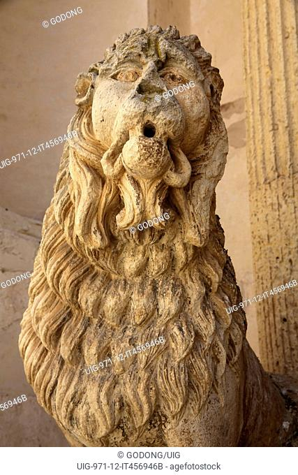 Detail of a lion statue outside Madona del Carmine church. Nardo. Italy