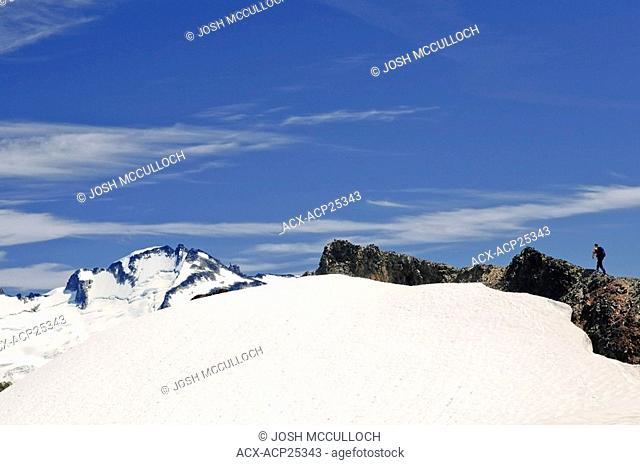A hiker in the Black Tusk/Garibaldi Lake area of Garibaldi Provincial Park near Whistler BC