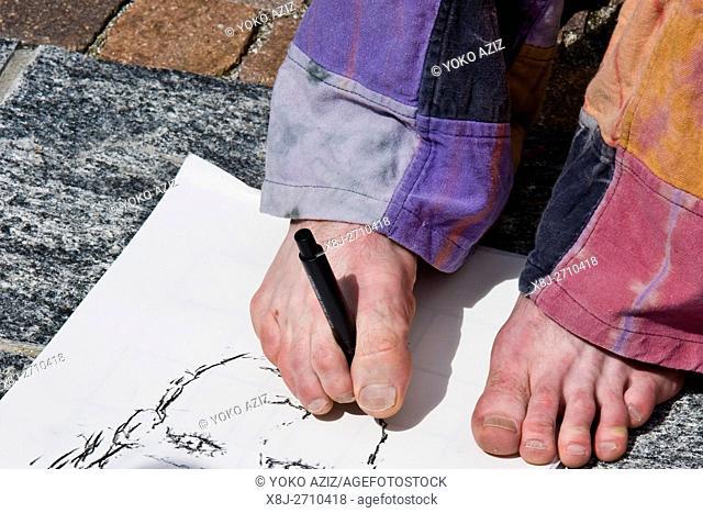 Foot painting, Festival of street artists, Ascona, Switzerland