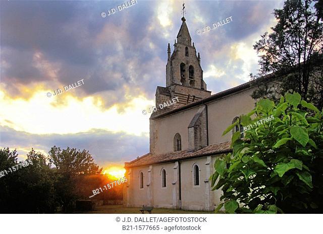 Pilgrimage way to Santiago de Compostela: church at Sabres, Landes, Aquitaine, France
