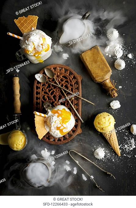 A coconut shake with mango coulis, wafer and meringue
