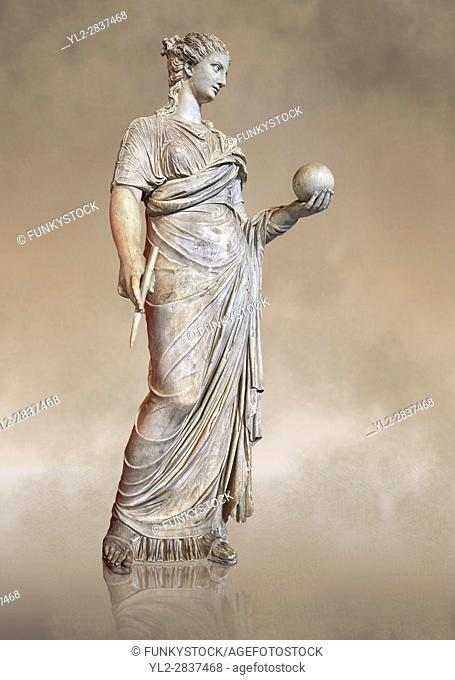 Second century AD Roman statue of Urania holding, the muse of atronomy holding a globe, the statue was restored from two separte staues of the period, inv 293