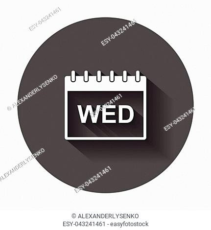 Wednesday calendar page pictogram icon. Simple flat pictogram for business, marketing, internet concept with long shadow
