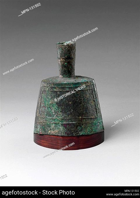 Bell on Base. Period: Qin (221-207 B.C.)-Western Han (206 B.C.-A.D. 220) dynasty; Culture: China; Medium: Bronze, wood; Dimensions: H. 6 3/8 in. (16