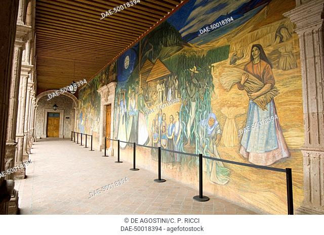 Mural in Clavijero palace dedicated to local farm life, historic centre of Morelia (Unesco World Heritage List, 1991), State of Michoacan, Mexico