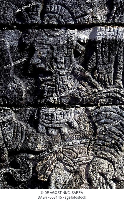 Relief, Group of a Thousand Columns, Chichen Itza (Unesco World Heritage List, 1988), Yucatan, Mexico. Maya Civilisation
