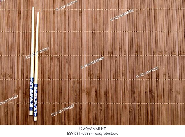 bamboo chopsticks on the mat
