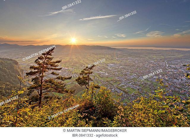 Sunset over Dornbirn seen from Karren mountain, Lake Constance at the back, Dornbirn, Vorarlberg, Rhine Valley, Austria