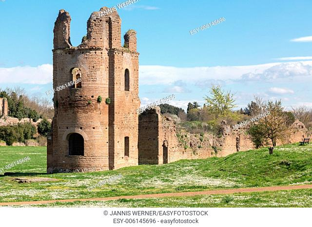 Ruins of the Circus of Maxentius lie in the spring sun along the ancient Appian Way in Rome, Italy