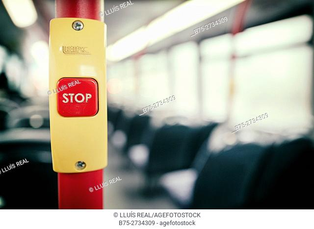 Stop button in bus, London, England