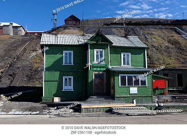 The Barentsburg port sea office. Barentsburg is a Russian coal mining town in the Norwegian Archipelego of Svalbard. Once home to about 2000 miners and their...