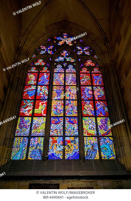 Stained glass window, gothic St. Vitus Cathedral, St. Vitus Cathedral, Indoors, Prague Castle, Hradcany, Prague, Bohemia, Czech Republic