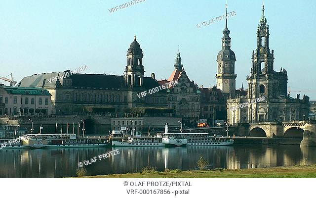 Dresden Skyline seen from the Elbe River, East Germany
