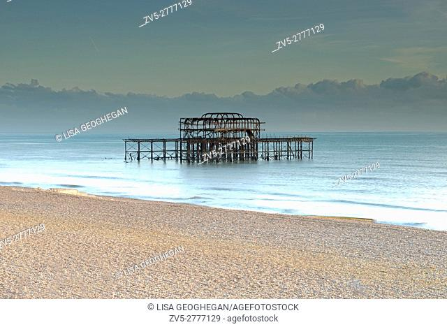 Remains of the West Pier, Brighton, East Sussex, England, Uk, Gb